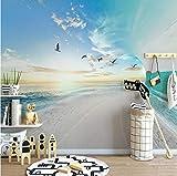 Fotomurales 3D tejido-no tejido Playa De Mar Fotografico Fotomurales Decoración de Pared Arte decorativos Murales moderna de Diseno Pared de fondo de TV,200x150 cm(W x H)
