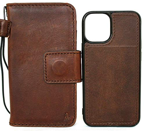 Genuine Natural Leather Case for iPhone 12 Mini Book Wallet Handmade Cover Magnetic Luxury Removable Cover Cards Soft Holder Rubber Strap Vintage Style Stand Handcrafted DavisCase