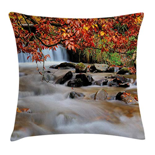 Throw Pillow Cases Decorative Soft Square, Waterfall with Enormous Rocks and Orange Yellow Autumn Trees Fall Leaf Artwork,Throw Pillow Cover Cushion Case for Sofa 18x18 Inch