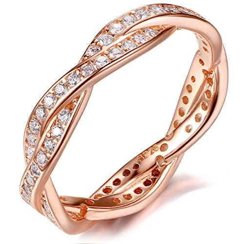 Presentski Cubic Zirconia 925 Sterling Silver Rose Gold Plated Wedding Ring for Women Ladies Girls