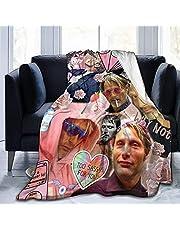 Mads Mikkelsen gåvor för kvinnor överkast filtar baby varm, för soffa, säng, vardagsrum, hållbar heminredning flanellfilt för vuxna och barn