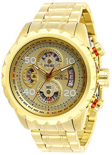 Invicta Relógio masculino Aviator 48 mm dourado de aço inoxidável cronógrafo de quartzo, dourado (modelo: 28161)