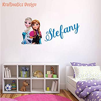 Frozen Anna & Elsa Custom Name Series Nursery Baby Boy Wall Decal Vinyl Sticker for Kids Home Décor by Kraftmatics Design  Small W 30  x H 14