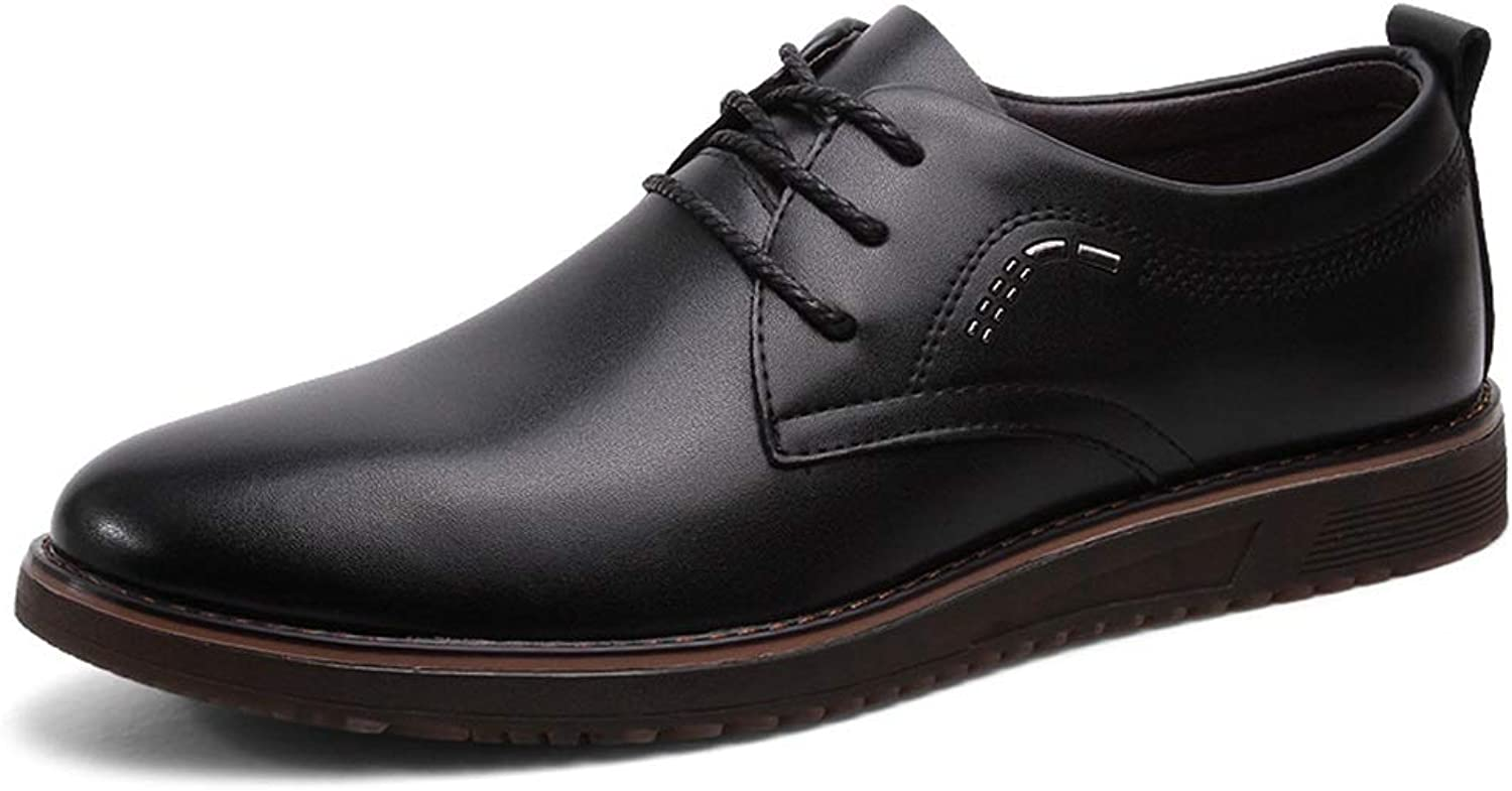 Easy Go Shopping Business Casual Oxford shoes For Men Comfortable Genuine Leather Dress Loafers Anti-slip Flat Slip-on Lace Up Round Toe shoes Cricket shoes (color   Black, Size   8.5 UK)