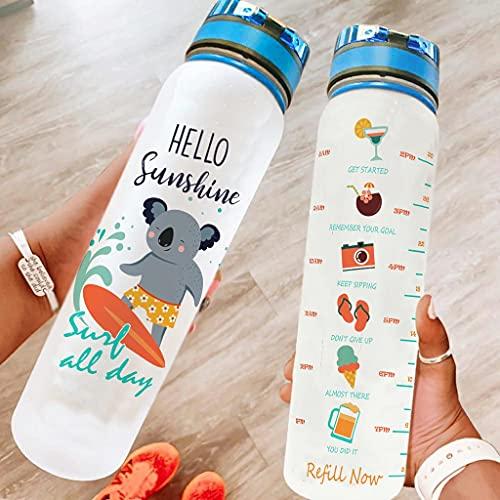 Bestwe Koala - Botella de agua Tritan con marcador de tiempo, ligera, para deporte, fitness, exterior, senderismo, color blanco, 1000 ml