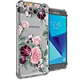 Girly Case for Samsung Galaxy J7 Perx, J7 Prime, J7 Sky Pro, J7 V, Galaxy J7 2017 Clear with Purple Flowers Design Shockproof Bumper Protective Cell Phone Cases for Girls N Women Soft Floral Cover