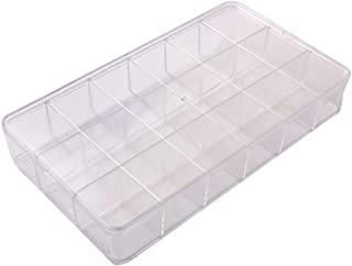 BangQiao Clear Plastic Storage Case and Bead Organizer Box with 18 Fixed Grids