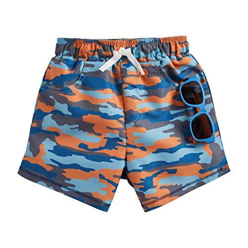 Mud Pie Boys' CAMO Swim Trunks W Sunglasses, Orange, 4T-5T
