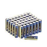 Woozoo by Ohyama, lote de 48 pilas alcalinas AAA, 1,5 V, 1250 mAh, larga vida útil de 10 años - Dry Cell Battery LR03-AAA - Amarillo