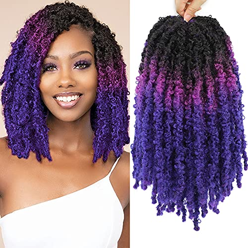 6Pack Ombre Butterfly Locs Crochet Hair 14inch Short Bob Distressed Faux Locs Crochet Braids Soft Locs Pre Looped Goddess Locs Synthetic Hair Extensions for Women(12 Strands/pack,1B/Purple/Blue)