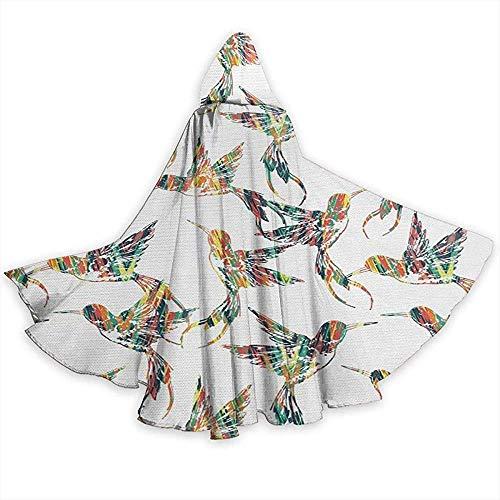 Nood-toepasbare pet met capuchon, kostuum omhanging, volwassenen omhanging, capuchon robe, carnaval cape, grijze betoverende kleurrijke vogelcijfers vampierkostuum, feest-met capuchon mantel, duivel-heksentovererkap