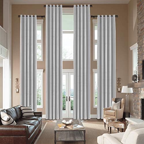 cololeaf Velvet Loft Curtains 204 Inches Long - Panel Beautiful, Elegant, Light Bloacking and Durable Window Drpaes Grommet Top Hall Velvet Curtains - Silver Grey 50W x 204L Inch (1 Panel)