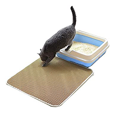 Huntfgold Cat Litter Box Mats for Catching & Trapping Kitty Litter (55 * 75cm, Brown)