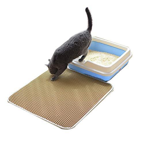 Huntfgold Katzenklo Matte 45x60cm,Wasserdicht Große Katzenstreu Matte Vorleger Braun für Katzentoiletten Leicht zu Reinigen