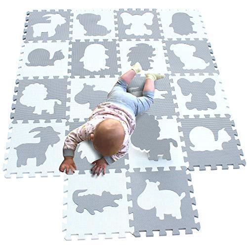 MQIAOHAM niños Suaves Espuma Rompecabezas Infantil gateando bebé tapetes Juego Gimnasio área Alfombra Piso para niños no tóxico Actividad Azulejos Seguridad Gimnasia Blanco Gris G301018-P058BH