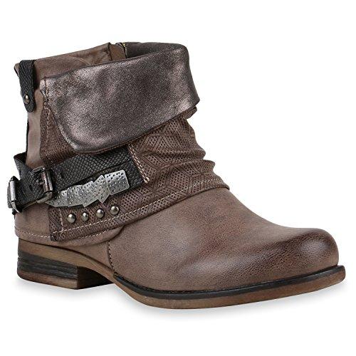 Damen Stiefeletten Biker Boots Schnallen Nieten Knöchelhohe Stiefel Leder-Optik Schuhe 120529 Khaki...