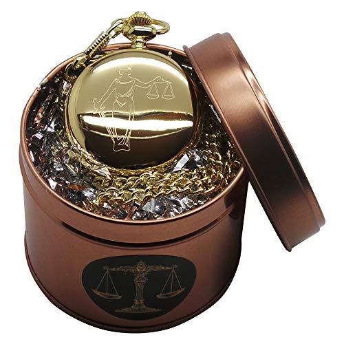 Gold-Taschenuhr mit Waage der Gerechtigkeit, Metallgehäuse für Anwälte, Rechtsanwälte, Richter.