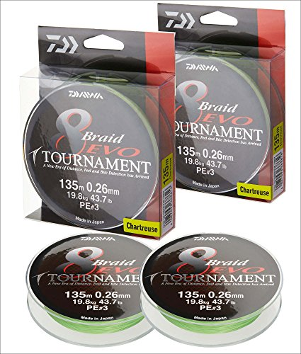 2 Stk. Daiwa Tournament 8 Braid EVO 0.12mm, 8,6kg/18,9lbs 135m chartreuse (Doppelpack)