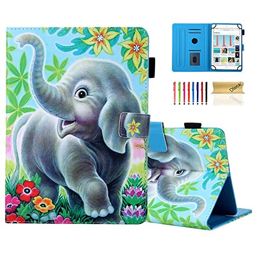 8.0 Inch Universal Tablet Case - Dteck Slim Protective Leather Wallet Flip Pretty Cover Case with Card Slots for Samsung Tab 8' /Lenovo 8in / Dragon Touch 8.0' /Huawei 8.0 8.4 Tablet (Smile Elephant)