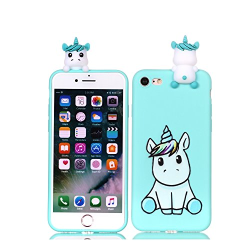 DAMONDY iPhone 8 Case,iPhone 7 Case, Cute 3D Cartoon Animals Pattern Soft Gel Silicone Slim Design Rubber Thin Protective Cover Phone Case for iPhone 7 (2016), iPhone 8 (2017)-Cute Unicorn