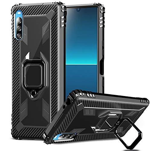 IMBZBK Kompatibel mit Sony Xperia L4 Hülle,[Fingerring mit 360-Grad-Drehung] [Anti-Fall] Agnetic Car Mount Kompatibel für Sony Xperia L4 - Schwarz