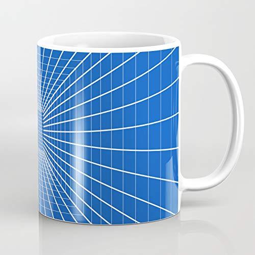 Kaffeetasse mit abstraktem 3D-Tunnel-Design, blauer Saphir.