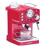 Machine à Espresso Oursson pour préparer du Café et des boissons lactées, Série EM1500, Rouge, 15 bars, Buse Vapeur Réglable, Thermomètre Rétro, Garantie 3 ans, EM1500/RD