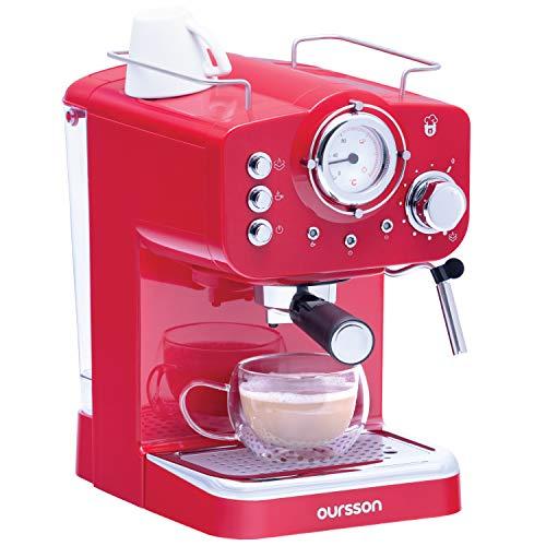 Oursson Kaffeemaschine, Espresso-Siebträgermaschine, Milchaufschäumer für Cappuccino und Latte, 15 Bar Espressomaschine, EM1500/RD, Rot