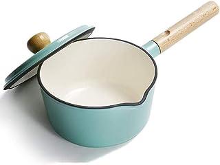 LIUCHANG Pote de cocinar hornos holandeses esmaltado, Baby Food Supplement Pot sartén Antiadherente con Mango aplicable Sopa de Olla al Vapor, White-10x18cm (Color: Rosa, Tamaño: 10x18cm) liuchang20