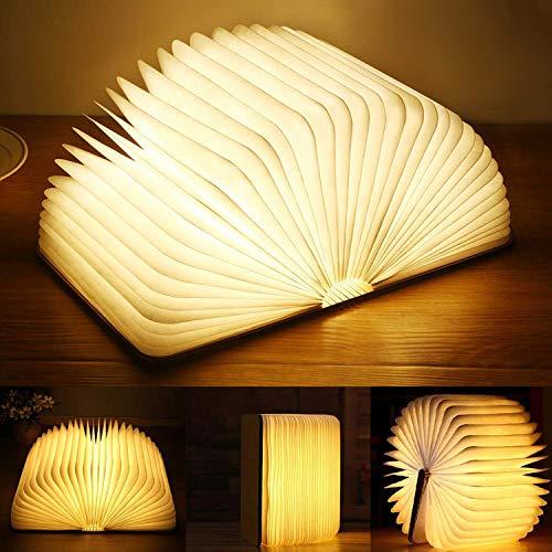 Yuanj LED Buchlampe, Hölzerne Buch Lampe, USB Aufladbare Buchlampen, Aurora Lampe Buch 360° Faltbar, Dekorative Lampen/Nachtlicht, Kreatives Geschenk für Frauen/Eltern/Kinder(2500mAh/warmweiß Licht)
