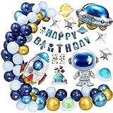 Cumpleaños Decoracion, 71 Piezas Decoración de Cumpleaños Globos de Pancartas Aluminio Globo de Espacio Tema Partypara Niñas Niños