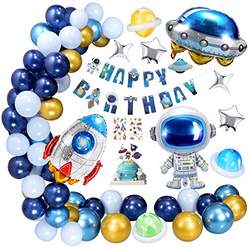 XDDIAS Space Theme Birthday Party Decorations for Boys, Party Supplies with Latex Balloons, Astronauts Rockets Foil Balloon with Happy Birthday Banner, Outerspace Sticker and Cake Topper