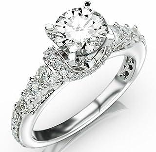 2.33 Carat Round Cut Designer Four Prong Round Diamond Engagement Ring (I-J Color, I2 Clarity)
