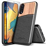 Galaxy A50 Case with Tempered Glass Screen Protector, NageBee Premium Natural Wood Canvas Fabrics Armor Defender Dual Layer Shockproof Hybrid Case for Samsung Galaxy A50 (2019)/A50S/A30 6.4 Inch -Wood