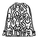 WH-CLA Cinch Bags Keith Harin-G Fun Monochrome Beach Bag Uomo Borse con Coulisse Donne Leggere Stampa Zaini con Coulisse Storage Cinch Borse Casual Unico All'Aperto per Lo Sport Shopping