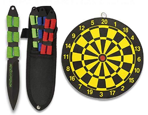 KOSxBO 3X Wurfmesser Set mit Zielscheibe - Outdoor und Indoor Messer mit Etui, rot blau grün