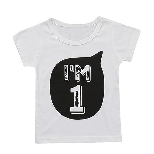 328e1dcba886 Webla Toddler Kids Baby Boys Girls Clothes Short Sleeve Letter I'm 1 Print  Tops