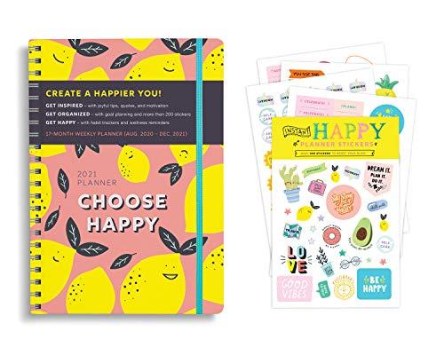 Juego de regalo de 2021 Choose Happy Planner e Instant Happy Sticker Set de regalo (planificador semanal, pegatinas, notas adhesivas,...