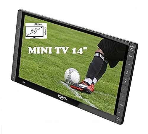Xoro PTL 1400 Televisore portatile DVB-T / T2 da 35,5 cm (14 pollici) (FullHD, caricabatteria per auto 12-24V, batteria integrata, HDMI IN, antenna) grigio