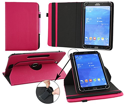 Emartbuy Vodafone Tab Speed 6 4G Tablet 8 Inch Universal (7-8 Inch) Padded Design Dark Pink 360 Degree Rotating Stand Folio Wallet Case Cover + Pink Stylus