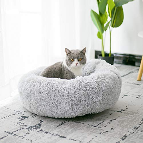 Lesong Round Pet Plush Bed, Soft Self-Warming Calming Dog Bed,Comfortable Sleeping in Autumn/Winter Donut Cuddler Round Dog Bed Cushion