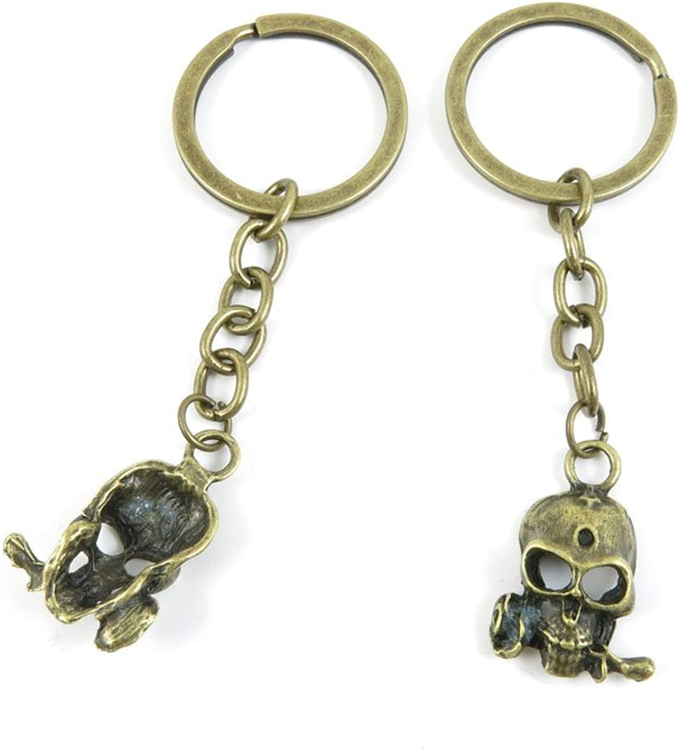 100 PCS Keyrings Keychains Key Ring Chains Tags Jewelry Findings Clasps Buckles Supplies C6AS4 Skull pink