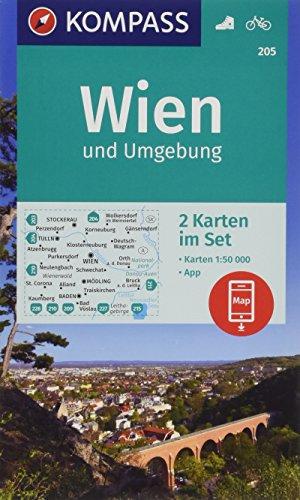 KOMPASS Wanderkarte Wien und Umgebung: 2 Wanderkarten 1:50000 im Set inklusive Karte zur offline Verwendung in der KOMPASS-App. Fahrradfahren. (KOMPASS-Wanderkarten, Band 205)
