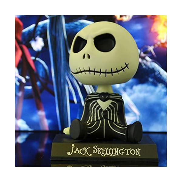 Adornos de coche PVC Jack Esqueleto Figura de acción Shaking Head Doll Dashboard Decoración La Pesadilla Antes de… 3