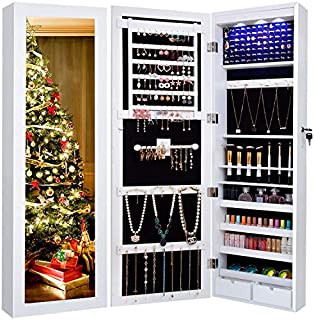 Jewelry Cabinet Organizer Wall Door Mounted 12 LED Lights Full Length Mirror Hanging Store Chains Wire Earrings Beaded Necklace Bracelet Ring Armoire Box Storage Over The Door Mirror Lockable Standing