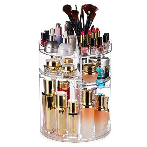 360 Degree Rotating Makeup Organizer,Large Capacity&Adjustable Multi-Function Cosmetic Storage Box,Fits Makeup Brushes,Eyeliner,Lipsticks Nail Polish