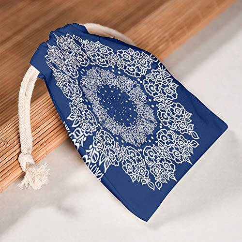 Lind88 Aufbewahrungstasche, 1 für 6 Stück, Mandala mit Kordelzug, waschbar, für Valentinstag, Party, Geschenktüten, Stil Prints, Baumwolle, weiß, 12 * 18cm