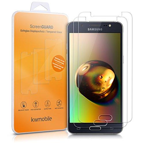 kwmobile 2X Folie kompatibel mit Samsung Galaxy J5 (2016) DUOS - Glas Handy Schutzfolie - Full Screen Display Schutz