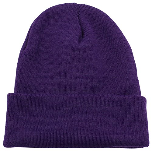 Top Level Unisex Cuffed Plain Skull Beanie Toboggan Knit Hat/Cap, Purple