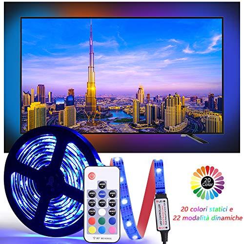 Diyife Retroilluminazione TV LED, [Nuova Versione] LED Striscia ad USB di Lunghezza 2.5M Striscia Luminosa a LED, RGB 5050 Luce con 20 Colori con Luce Telecomando FR per HD TV da 40-60 Pollici